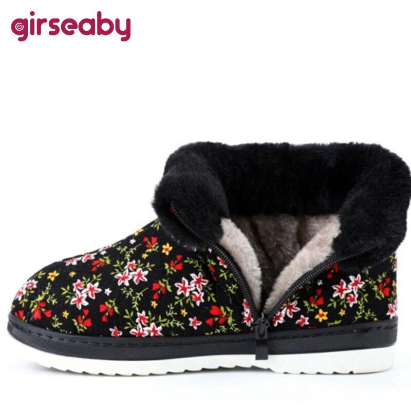 Girseaby Winter Cute Warm Plush fur Mid-Calf boots Floral Folk-custom Cotton Flat Flock Zip Big size 36-45 Black Blue Red F1046