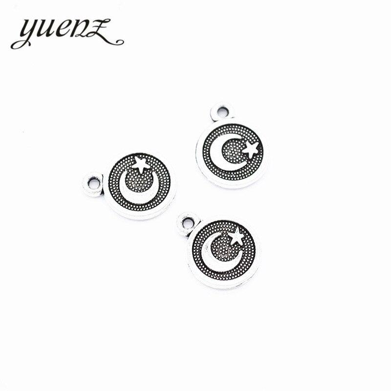 YuenZ 30 pièces nouveau produit Antique argent couleur lune étoile pendentif à breloques bijoux en alliage de métal bijoux marquage 12*10mm L626