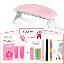 DIY Nail Art Set with 6W Dryer Machine UV LED Lamp Gel Polish Kit Off Manicure Tools brush For tools