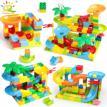 151PCS/SET Ball Run Race Big Building Blocks Compatible Legoingly Duploed large model Bricks kit Funnel Slide Toys For Children(China)