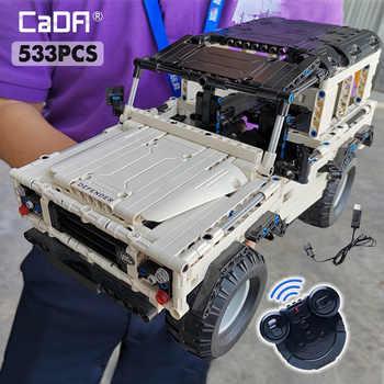 Cada 533 pçs defender blocos de construção do carro de controle remoto para a técnica rc modelo carro suv cidade tijolo brinquedos para crianças meninos