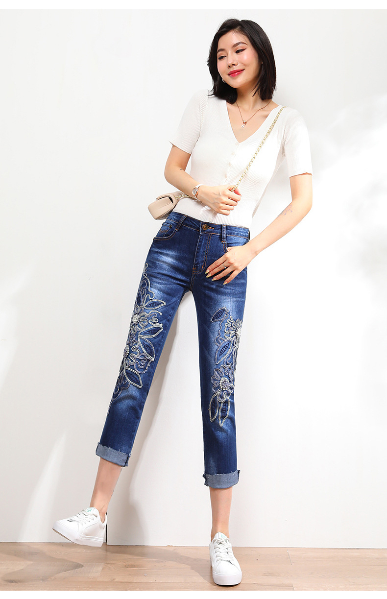 KSTUN FERZIGE Jeans Women High Waisted Stretch Blue Embroidered Floral Slim Straight Cuffs Mom Jeans Push Up Denim Cropped Pants 36 13