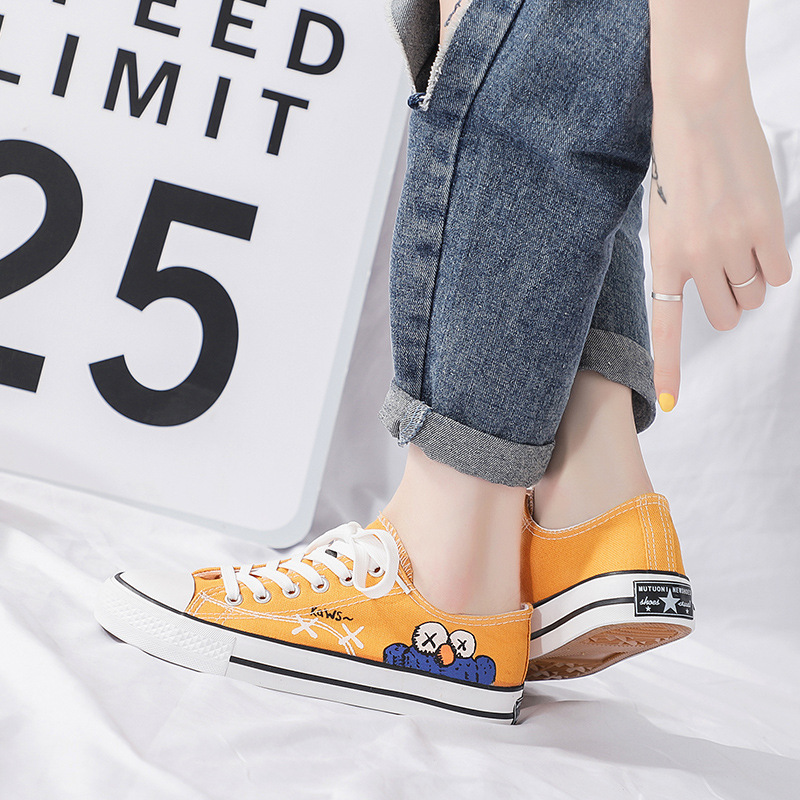 Popular WOMEN'S Shoes 2019 Autumn Shoes Sesame Street Canvas Shoes Student Korean-style New Style Small Dirty Orange MacBook Tre