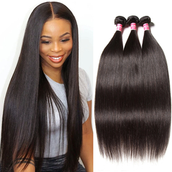Klaiyi Hair Extensions Brazilian Hair Weave Bundles  1/3/4 Bundles Straight Human Hair Bundles Natural Black Weave Remy Hair
