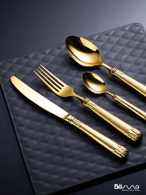 Dorure allemande or vaisselle de luxe ensemble de couverts 304 acier inoxydable Western Steak couteau et fourchette maison européenne vaisselle 5CD26