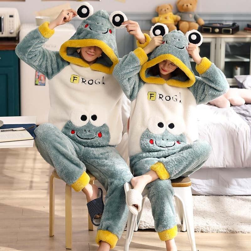 New Winter Couple Pajamas Warm Thicken Sleepwear Cute Cartoon Male Home Clothes 2 Pieces Hooded Pajamas Set