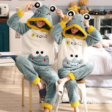 New Winter Couple Pajamas Warm Thicken Sleepwear Cute Cartoo