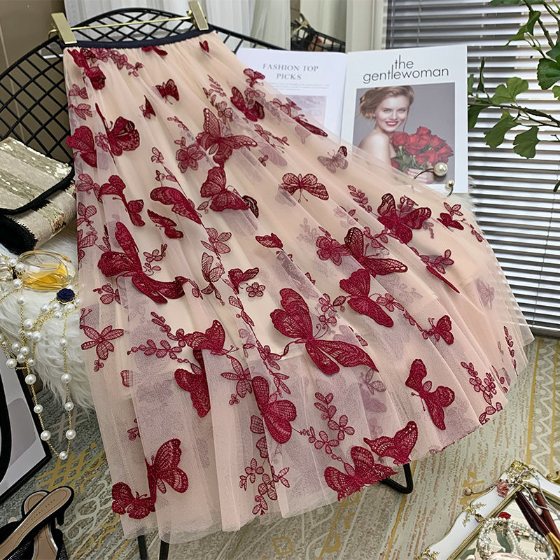High Quality Embroidery Butterfly Two Layer Mesh Pleated Skirt Women 2020 Summer High Waist Long Skirts Womens Elegant