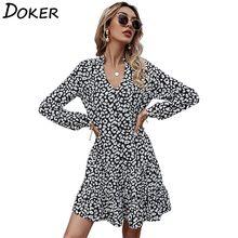 Mini abito con stampa leopardata donna primavera moda scollo a V manica lunga Plus Size abiti Casual da spiaggia Boho femminile Vestido Mujer