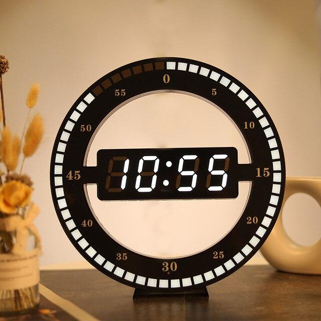 Led Digitale Wandklok Modern Design Dual Gebruik Dimmen Digitale Circulaire Photoreceptive Klokken Voor Huisdecoratie Us Eu Plug