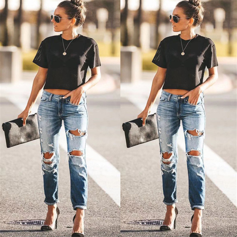 2020 Spring Fashion Hole Ripped Jeans Women Destroyed Cool Denim Mid Waist Skinny Jeans Pants Summer Slim Pencil Jeans Trousers