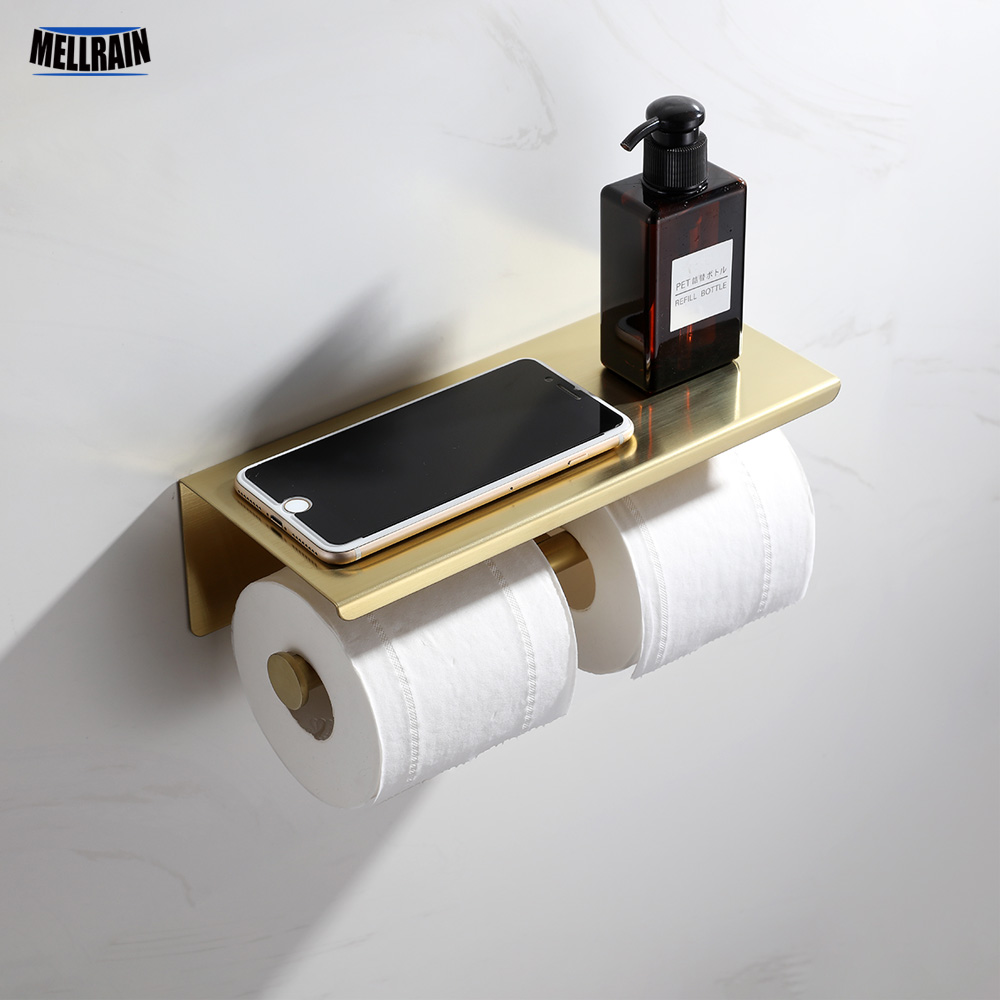 Double Ring Toilet Paper Holder Big Top Shelf Black & Brushed Gold & Chrome Stainless Steel Toilet Roll Holder
