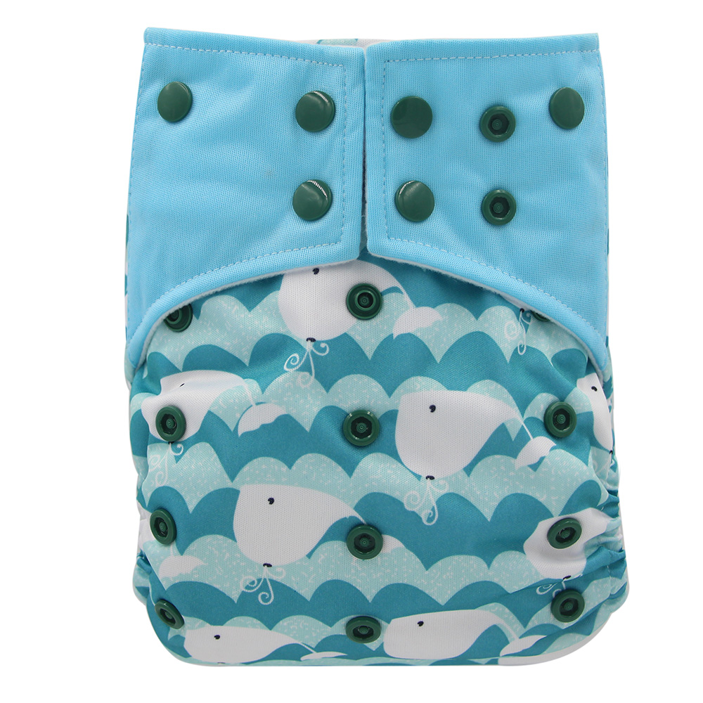Ohbabyka Baby Nappies Diaper Cover Waterproof Pocket Cloth Diaper All-in-two AI2 Reusable Baby Diapers With Double Gussets