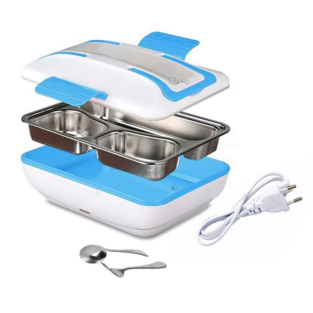 Hot Electric Heating 4L Lunch Box With Spoon Fork EU Plug Stainless Steel Bento Box 3 Compartments Food Container Lunchbox 1