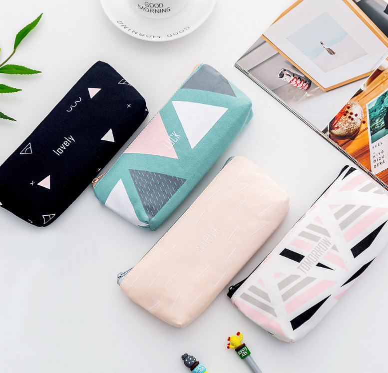 Fashion Canvas Pencil Pouch Trapezoid Pen Case Pencil Bag Simplism Stationery Organizer Box For Student School Office Supplies
