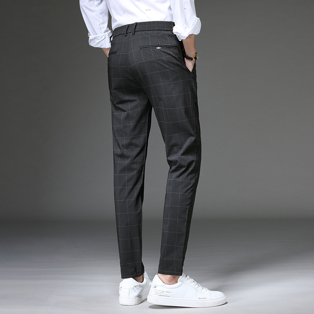 Jantour 2020 Spring New Casual Pants Men Slim Fit Plaid Fashion Gray black Trousers Male Brand Clothing business work pant 28-38 40