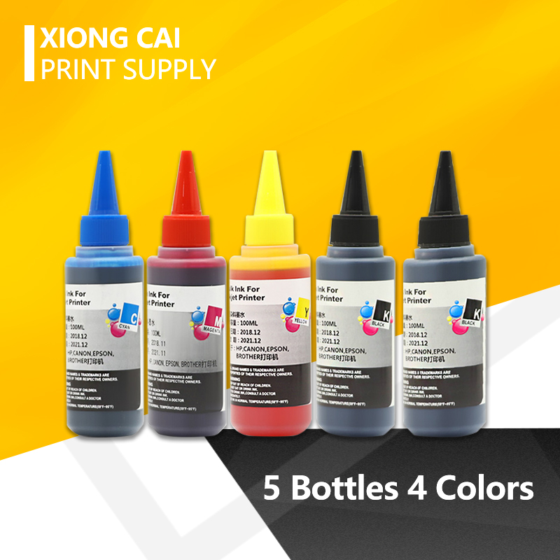 5 Bottles 4 Colors Universal  Ink Compatible for Epson for Canon for Brother for Hp all models Inkjet Printers free shipping