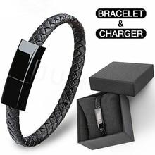 Новый портативный кожаный мини-браслет для Android Mini USB C, зарядное устройство, кабель для зарядки и передачи данных, кабель для браслета