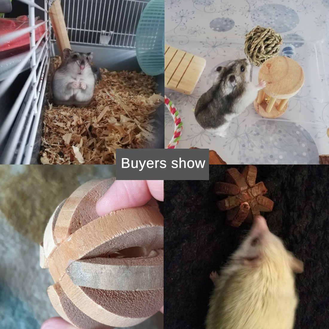 Nette Natürliche Holz Kaninchen Kleine Pet Molaren Liefert Spielzeug Kiefer Dumbells Einrad Glocke Roller Kauen Spielzeug für Guinea Schweine Ratte
