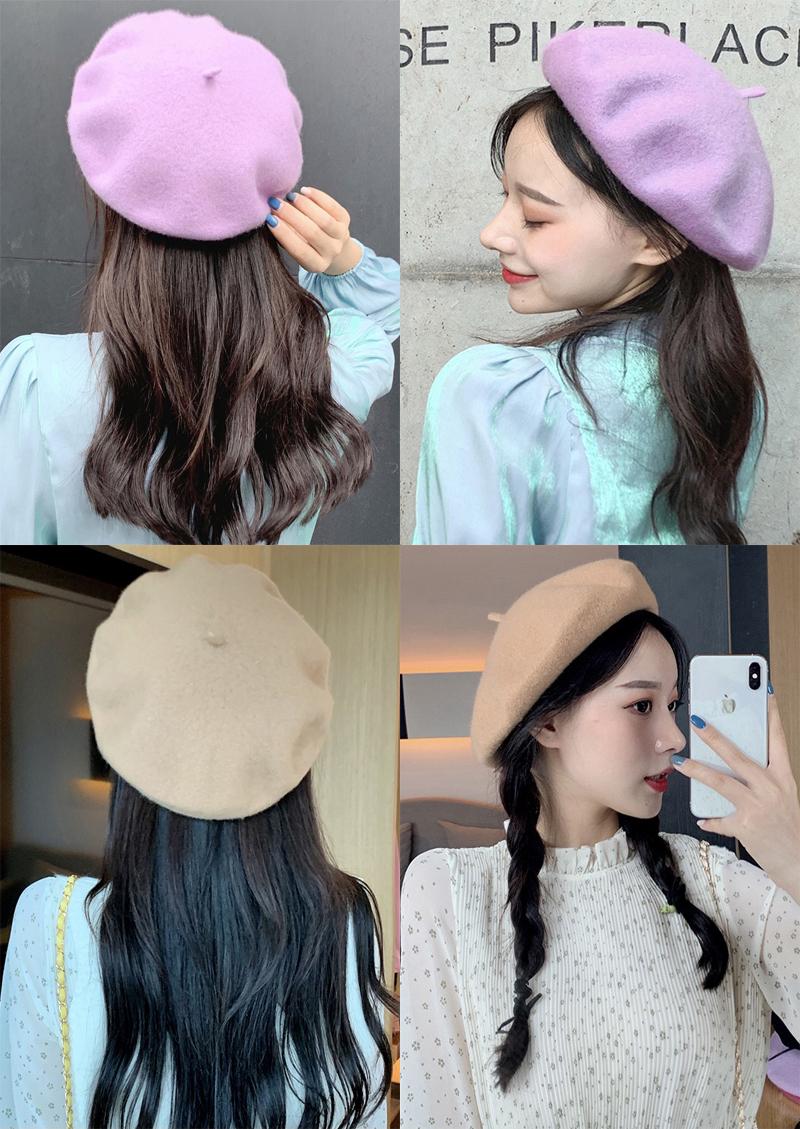 A Boina Mujer Lana C/álidos Sombreros Casuales con Estilo Gorra Vintage Plegable Sombrero de Visera de Invierno N
