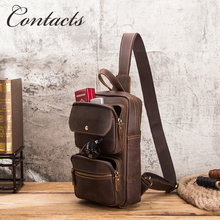 Vintage Contacts genuine crazy horse leather men sling chest bag for ipad 9.7inch zipper handbag shoulder crossbody bag for men(China)