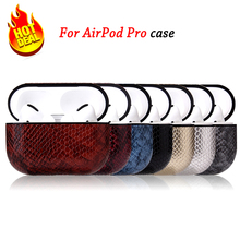 Case For Airpods Pro Case Cover Leather Snake Pattern Shell Earphone Shockproof Protective Cover for Air pods pro Leather Case