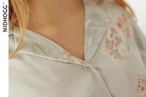 Image 5 - ฤดูร้อน Tribute ซาตินดอกไม้พิมพ์ชุดนอนหวานแขนยาวชุดนอน Loungewear ผู้หญิง Turn down Collar ชุดนอนเสื้อผ้า