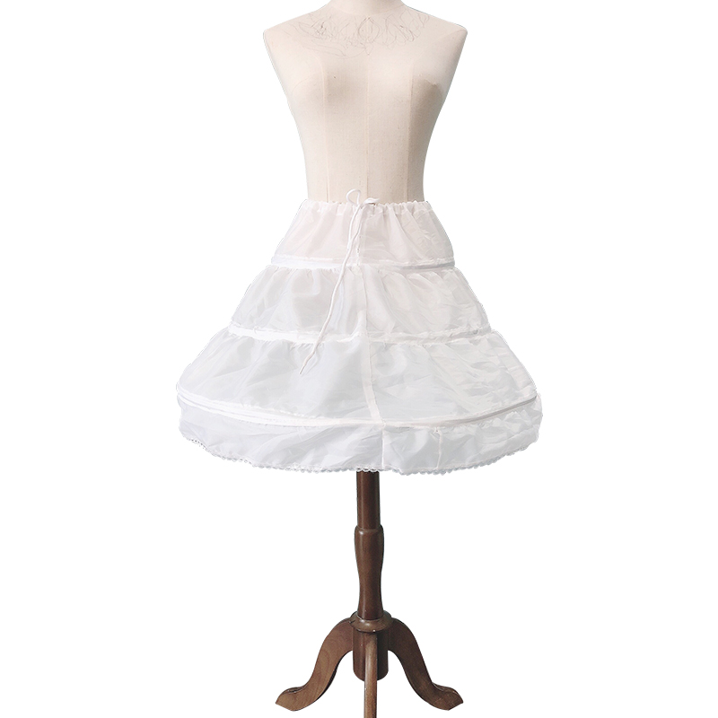 White Petticoat Girl Princess Half-length Long Skirt Prom Dress 3 Hoop Tulle Lace Petticoat