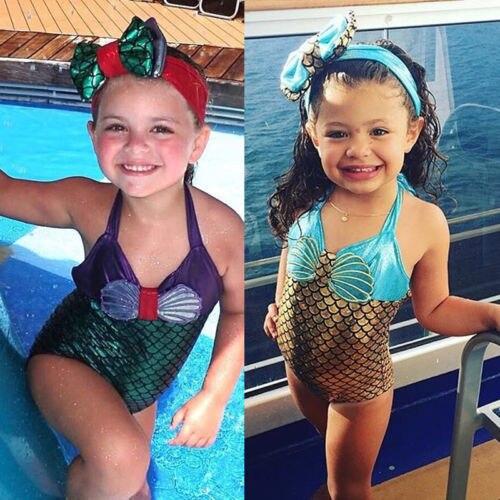 Детский слитный купальник, детский купальник для девочек, купальный костюм русалки, Милые Бикини, головной убор mayo, комплект детской одежды ...