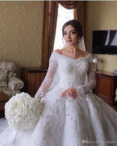 Image 2 - Sparkly Crystal Beaded Ball Gown Wedding Dresses Luxury Off Shoulder Appliqued Plus Size Saudi Arabic Dubai Bridal Gown