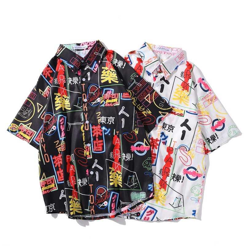 中国の要素ビーチプリントシャツ男性夏落書きためアロハシャツ男性女性ブラックホワイトカジュアル半袖シャツ