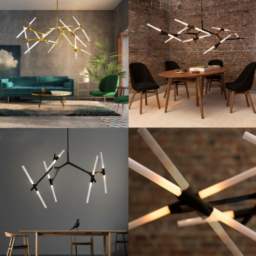 Modern Metal Sputnik Chandelier Lamp Tree Branch Pendant Lighting Ceiling Fixture with Frosted Glass Lampshade for Dining Room