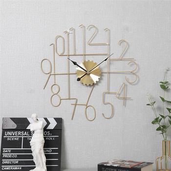 Oświetlenie w stylu nordyckim luksusowa cyfra rzymska zegar ścienny zegar dekoracyjny do salonu w domu złoty cichy prosty zegar ścienny tanie i dobre opinie CN (pochodzenie) GEOMETRIC Jedna twarz ZAGARY ŚCIENNE Wall clock One side Pointer + number may not Battery Second sweep movement