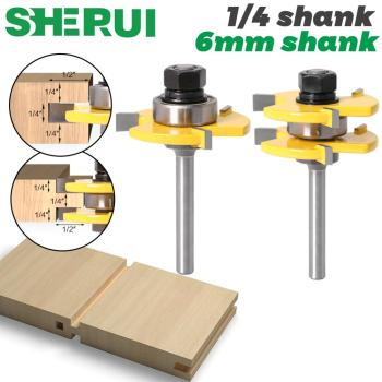 """2 Pc 6mm 1/4 Inch Shank High Quality Tongue & Groove Joint Assembly Router Bit Set 3/4"""" Stock Wood Cutting Tool"""