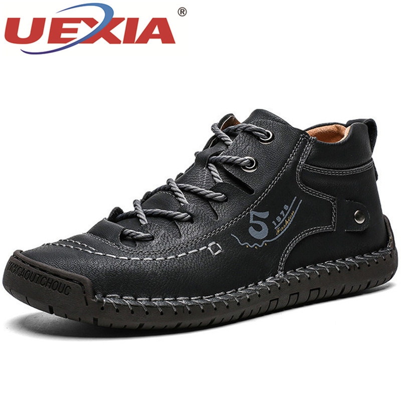 UEXIA Footwear Men's Boots Winter With Fur Keep Warm Snow Boots Men Shoes Footwear Fashion Male Winter Leather Ankle Size 39-48