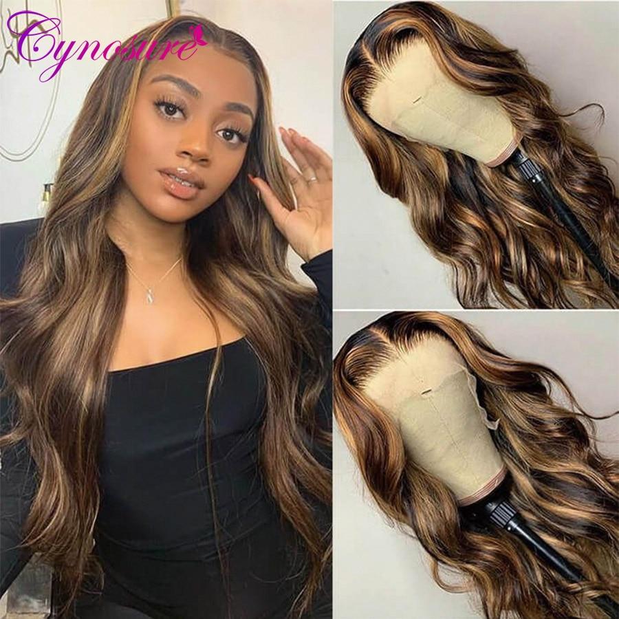 Cynosure – perruque Lace Frontal Wig péruvienne Remy, cheveux naturels, Body Wave, coloré, à reflets, 13x4, #4/27, pour femmes noires, 180%