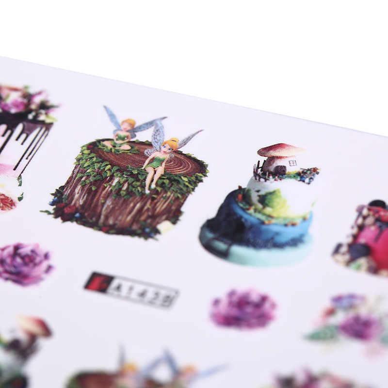 24 sztuk kobiety makijaż woda tatuaże Nail Art naklejki dekoracyjne mieszane kolorowe wzory ciasto lody naklejka do paznokci