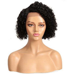Image 2 - Trueme Bob Right Side Deep Part Curly Lace Wig Brazilian Short Bob Lace Front Curly Human Hair Wigs For Black Women