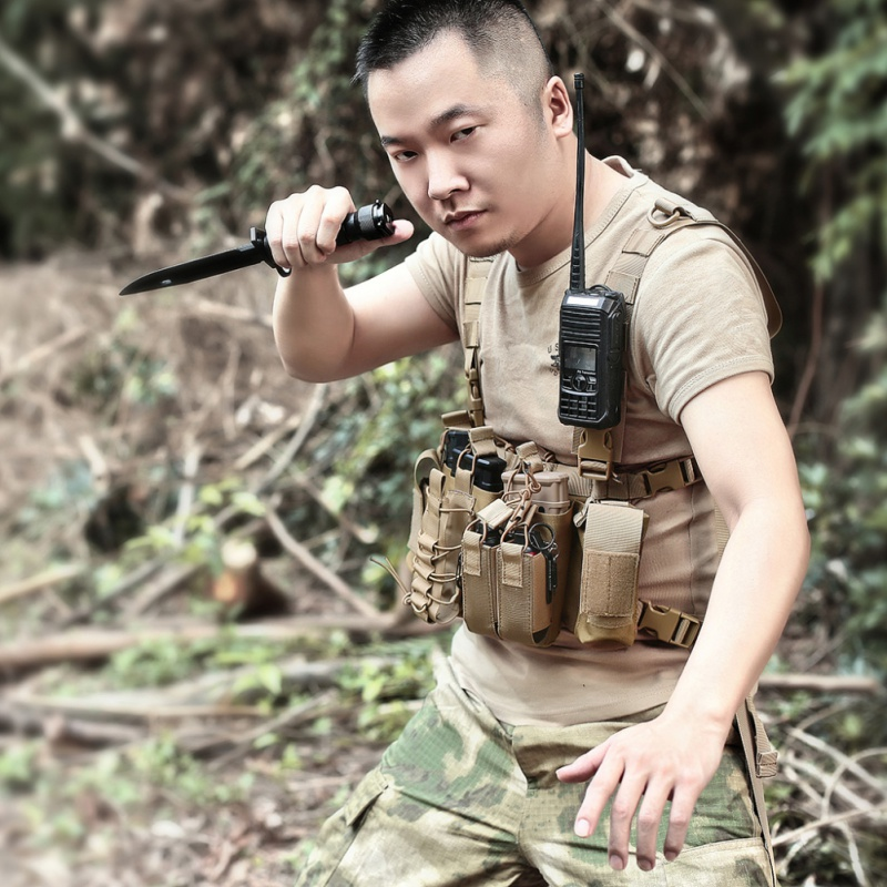 Men Women Tactical Harness Chest Rig Waist Bag Radio Front Pack Q