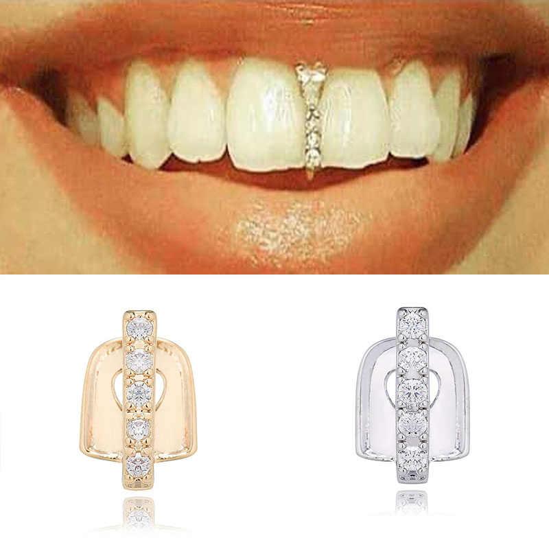 2020 חדש היפ הופ זהב שיניים Grillz למעלה קריסטל גריל שיניים פה שיני פאנק כובעי קוספליי מסיבת שן ראפר מצחיק תכשיטי מתנה