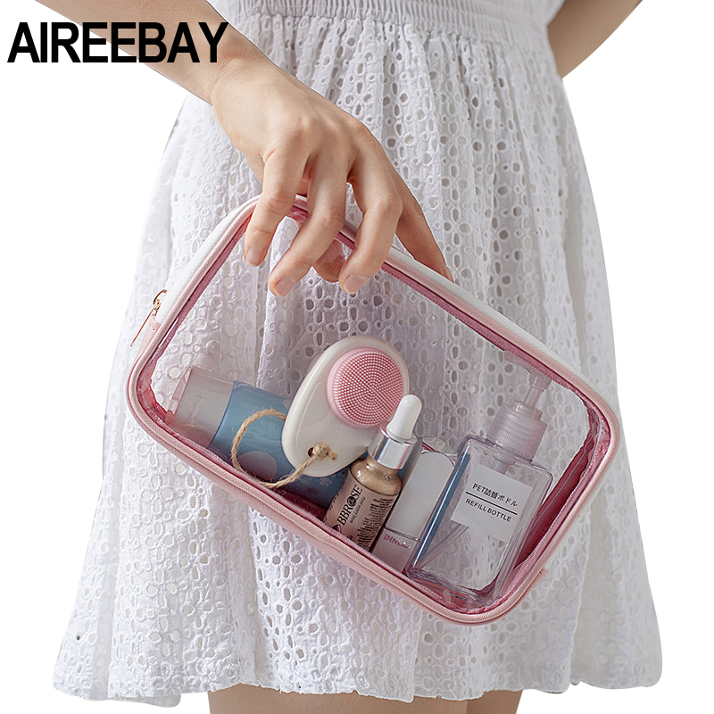 AIREEBAY Tansparent Travel Cosmetic Bag Makeup Case Zipper Clear Make Up Bag Functional Organizer Storage Pouch Toiletry Wash