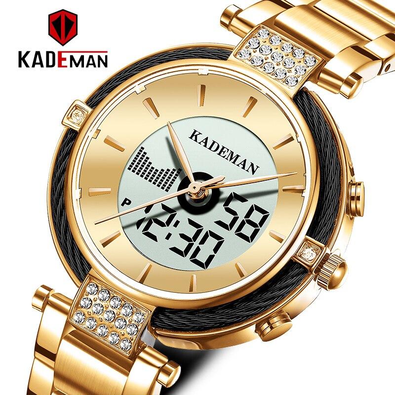 KADEMAN New Dual Display Fashion Women Watches LED Clock Multiple Time Zone Waterproof Quartz Wristwatches Lady Relogio Feminino