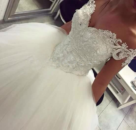Princess Ball Gown Back Lace Up Vestido De Noiva Casamento Off Shoulder Short Sleeve Lace Bridal Gown Mother Ofthe Bride Dresses