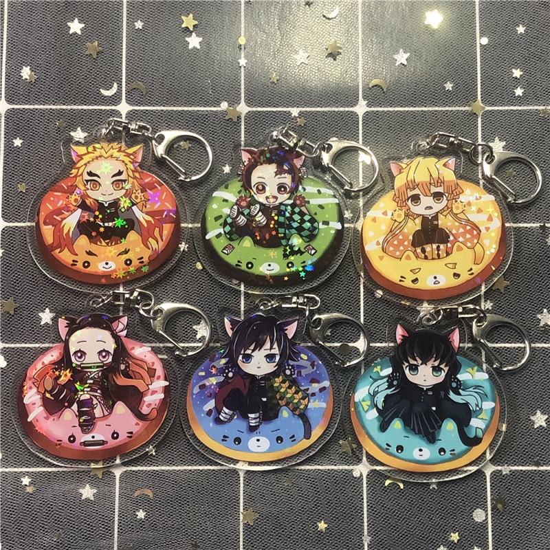 Japan Hot Anime Agatsuma Zenitsu Kamado Tanjirou Demon Slayer Kimetsu No Yaiba Props PVC Keychain Pendant Decor Gifts