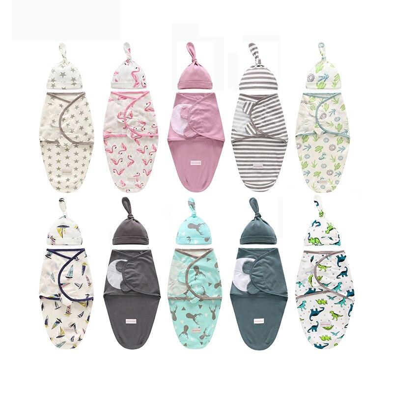 Пеленальный мешок для новорожденных + шапочка, хлопковое детское одеяло для приёма, милый спальный мешок с мультяшным рисунком для младенцев в возрасте от 0 до 6 месяцев