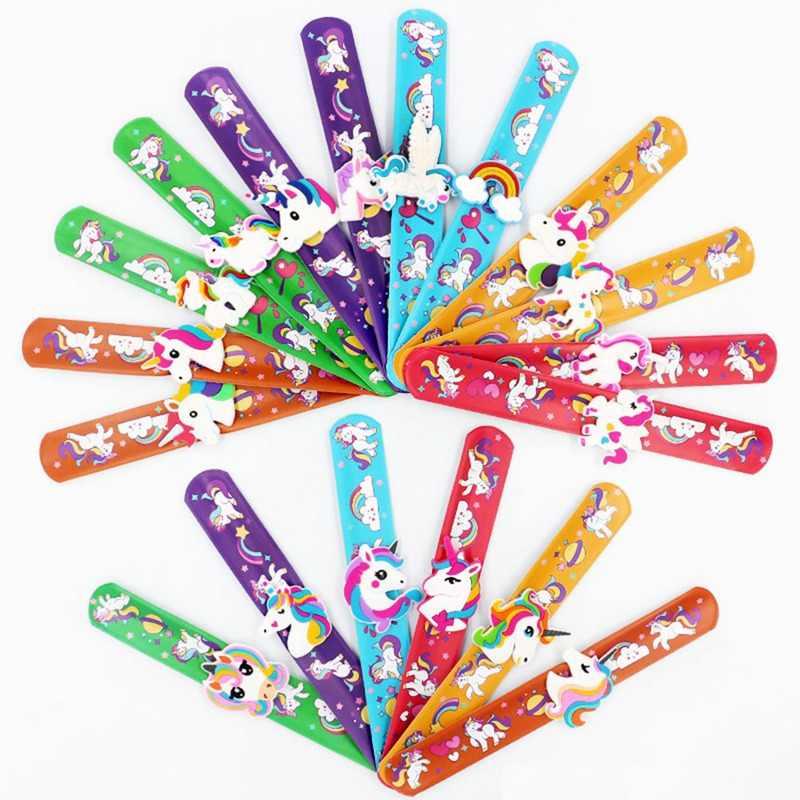 子供子供ガールボーイカラフルなユニコーンリストバンド柔軟なラップスラップブレスレット動物ランファン配送