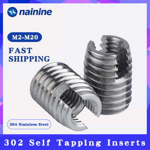 [M2-M20] Stainless Steel 302 Style Threaded Metal Thread Repair Insert Self Tapping Inserts Slotted Screw Threaded