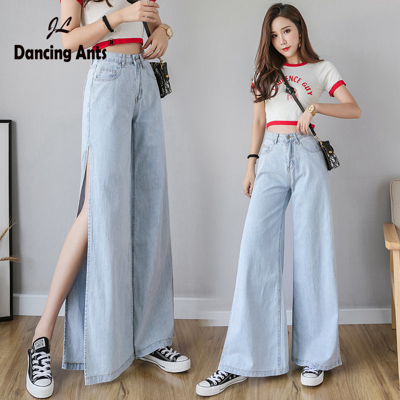 Woman Jeans Wide-leg High Waist Pants Korean Style Solid Side Slit Sexy Loose Streetwear Female Long Trousers 2020 New Fashion