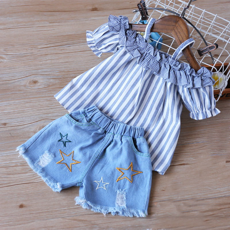 Humor Bear Girls Summer Clothes Brand New Children Lace Stripe Girl Tops+ Denim Pant 2PCS Set Baby Girls Clothing Suit