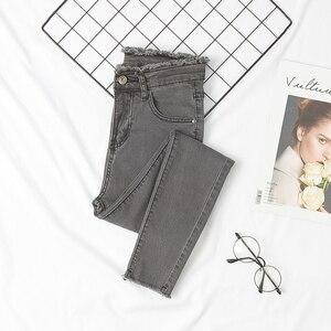 Image 3 - Kot kadınlar kalem sıska ince püskül düğme Fly katı bayan dipleri temel Jean klasik şık kore tarzı eğlence moda şık